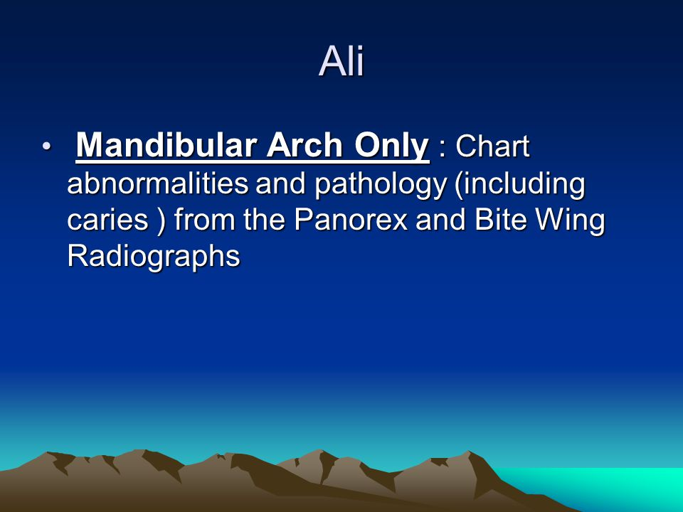 Ali Mandibular Arch Only : Chart abnormalities and pathology (including caries ) from the Panorex and Bite Wing Radiographs.