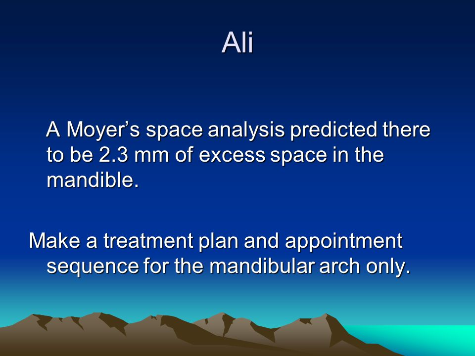 Ali A Moyer's space analysis predicted there to be 2.3 mm of excess space in the mandible.