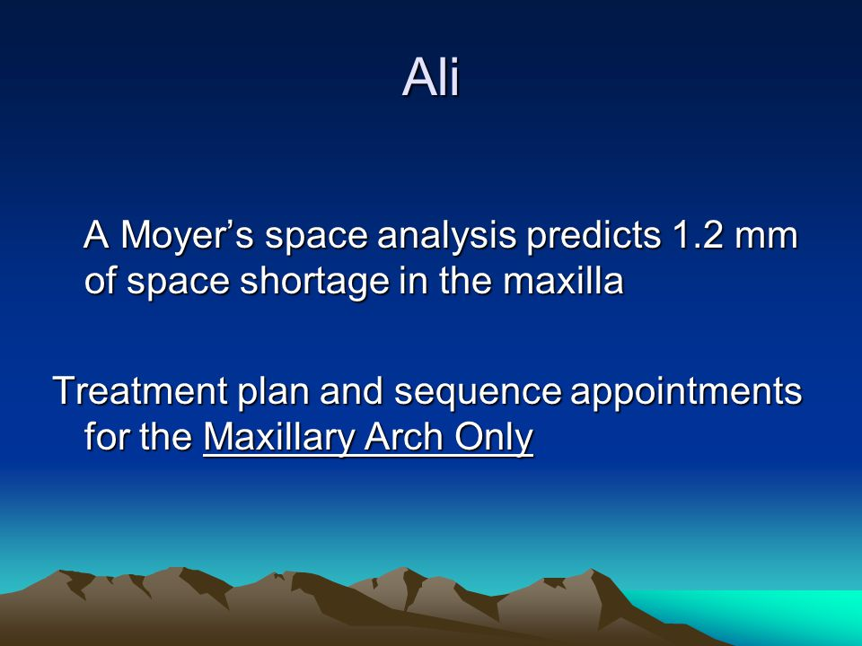 Ali A Moyer's space analysis predicts 1.2 mm of space shortage in the maxilla.