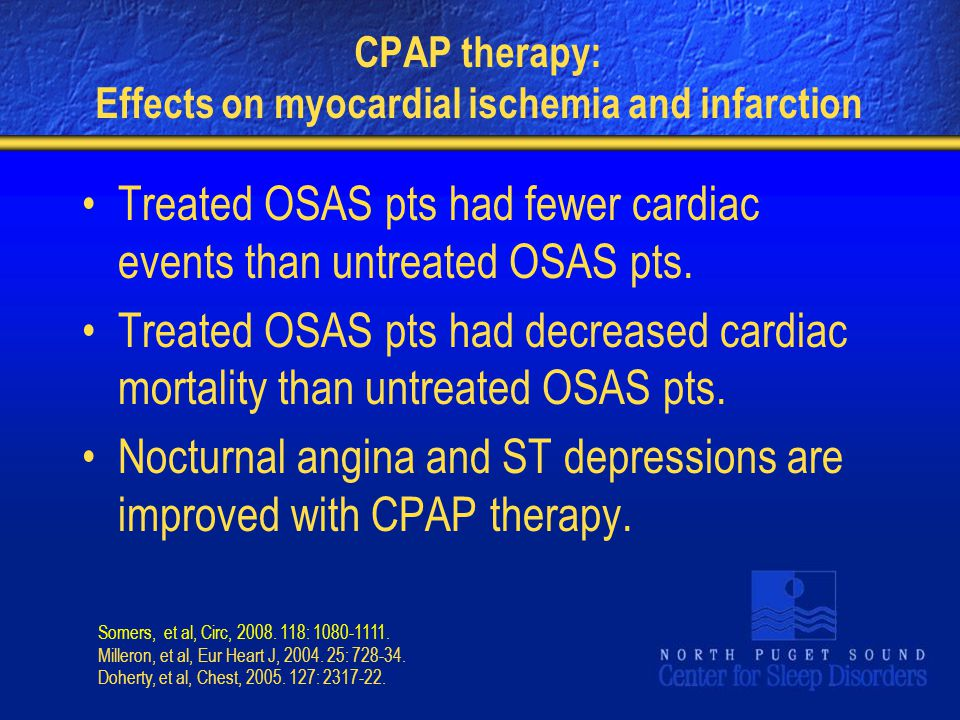CPAP therapy: Effects on myocardial ischemia and infarction