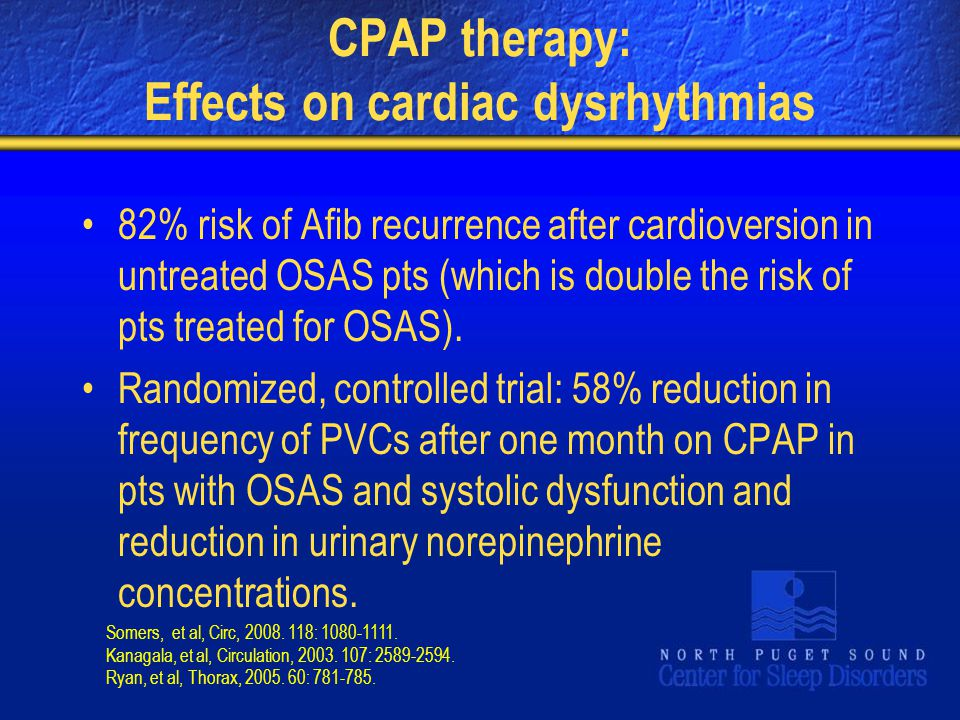CPAP therapy: Effects on cardiac dysrhythmias