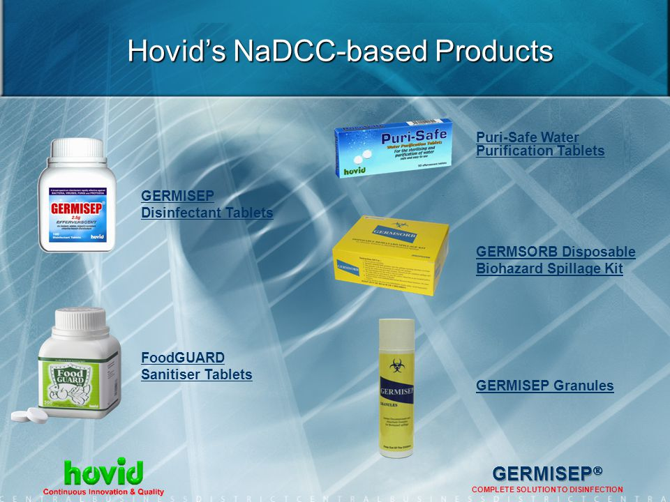 Hovid's NaDCC-based Products