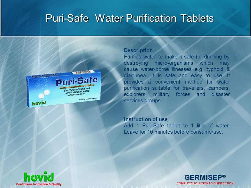 Puri-Safe Water Purification Tablets