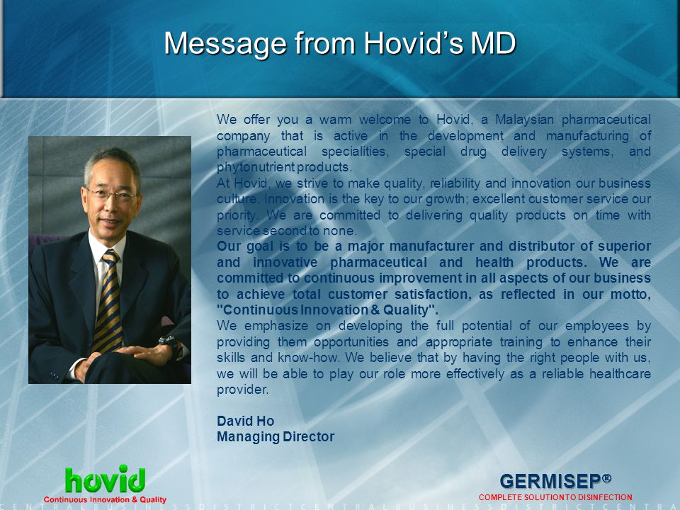 Message from Hovid's MD