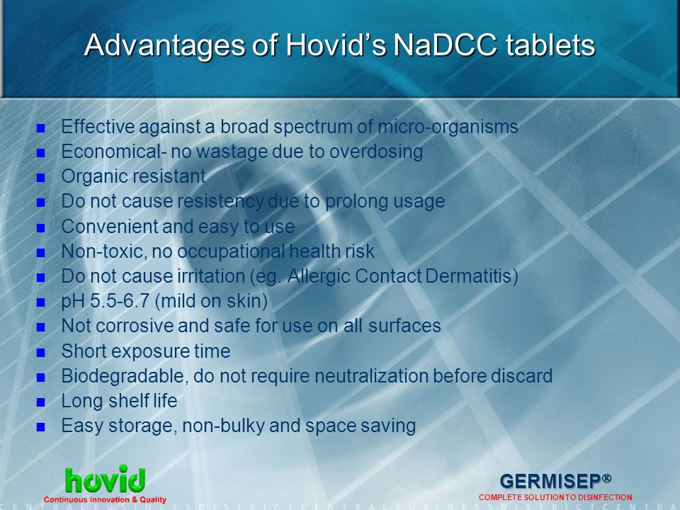 Advantages of Hovid's NaDCC tablets