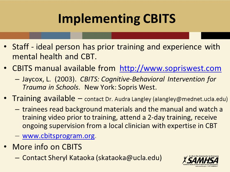 Implementing CBITS Staff - ideal person has prior training and experience with mental health and CBT.