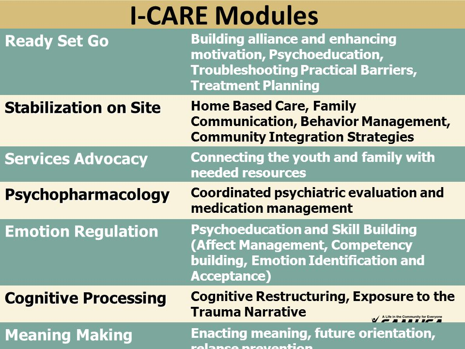 I-CARE Modules Ready Set Go Stabilization on Site Services Advocacy
