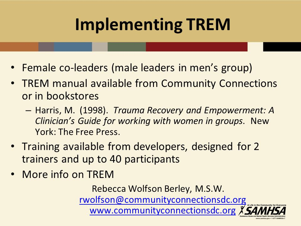 Implementing TREM Female co-leaders (male leaders in men's group)