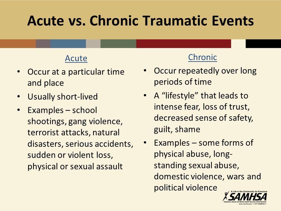 Acute vs. Chronic Traumatic Events