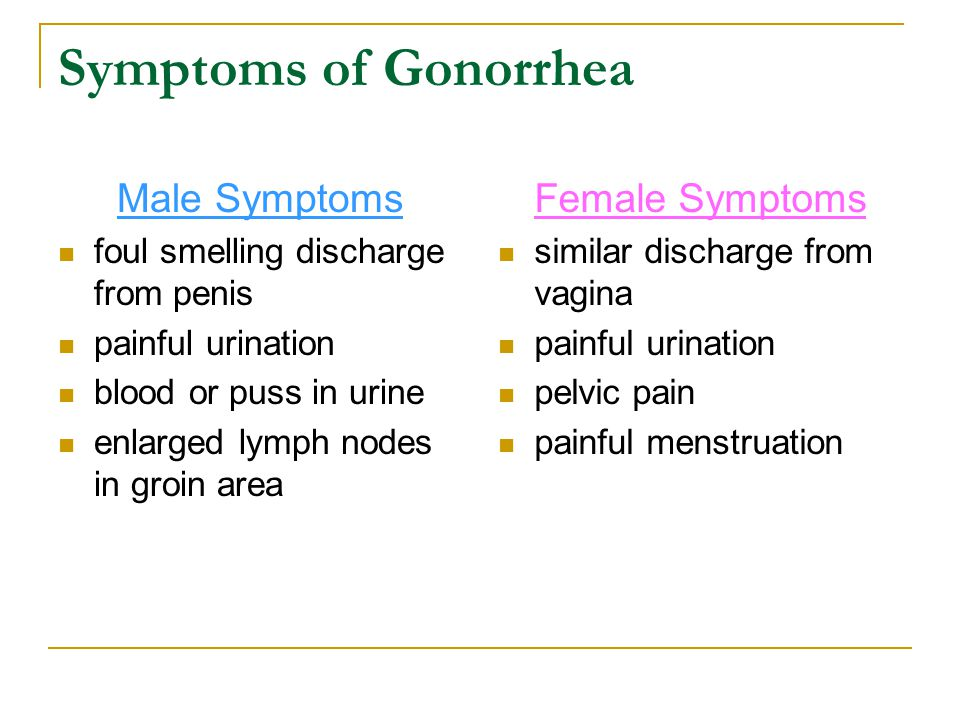 Symptoms of Gonorrhea Male Symptoms Female Symptoms