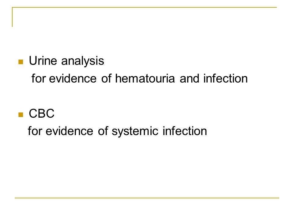 Urine analysis for evidence of hematouria and infection CBC for evidence of systemic infection