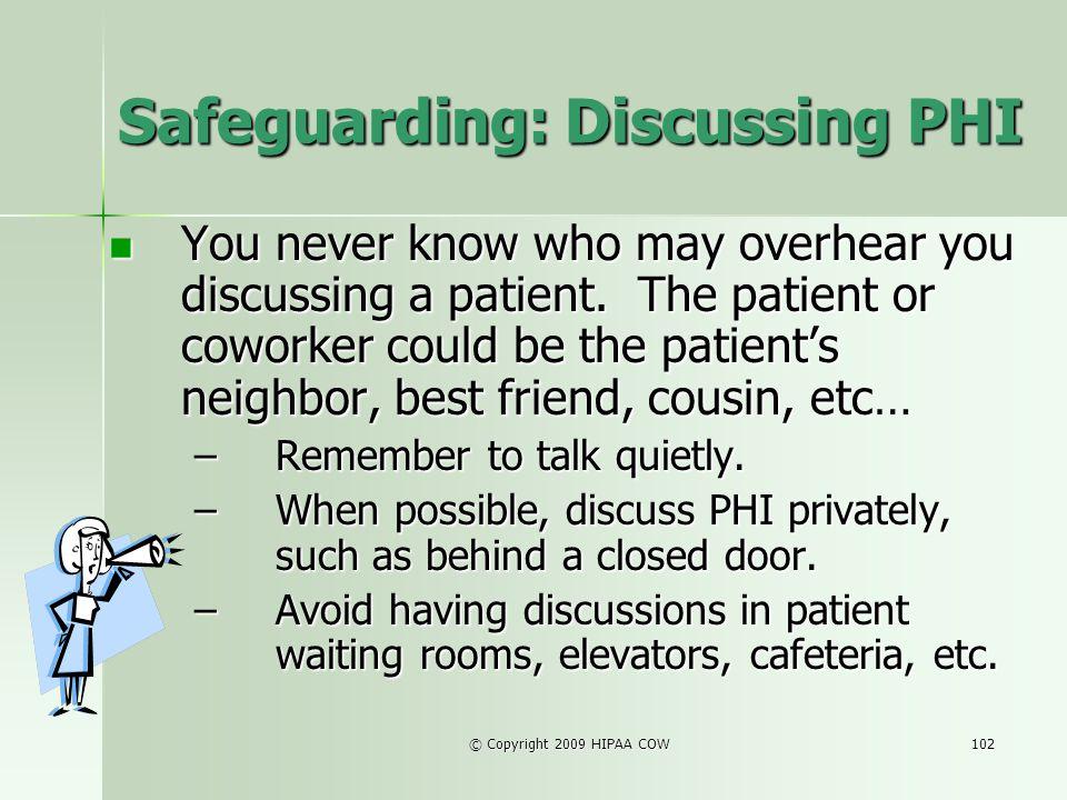 Safeguarding: Discussing PHI