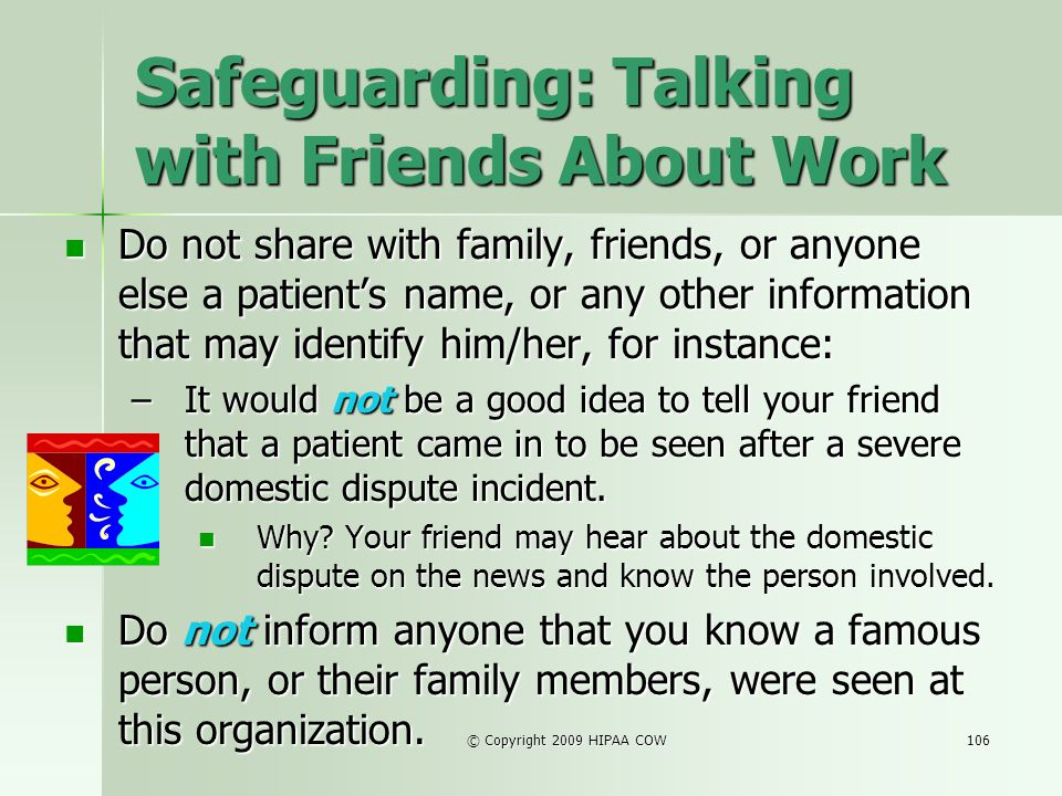 Safeguarding: Talking with Friends About Work