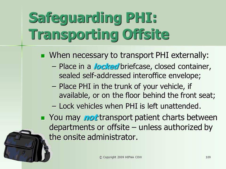 Safeguarding PHI: Transporting Offsite