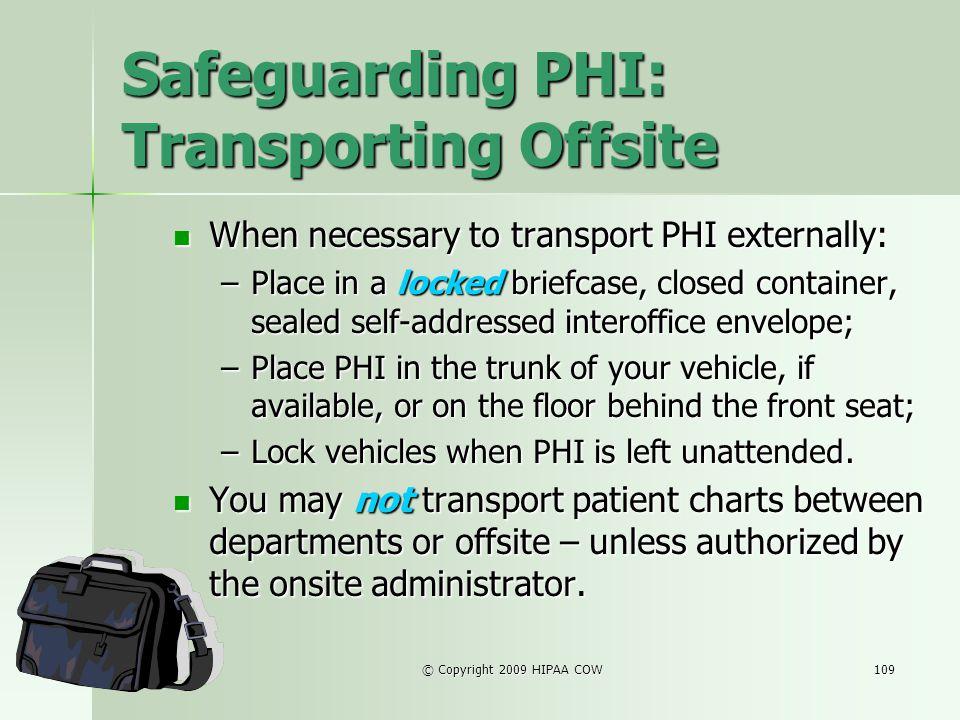 Safeguarding PHI: Transporting Offsite