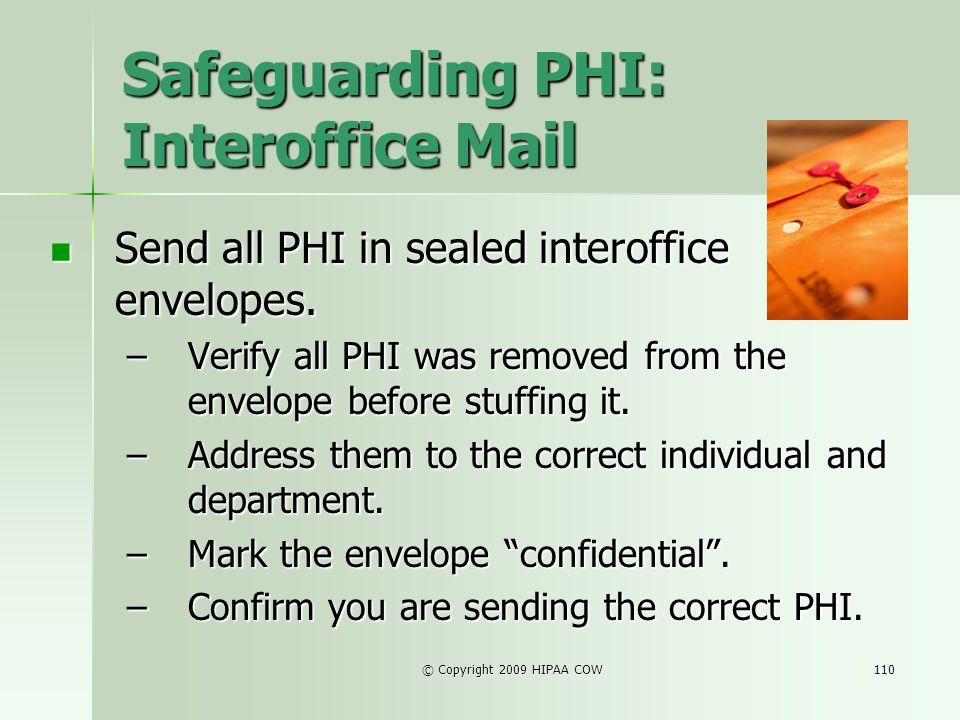 Safeguarding PHI: Interoffice Mail