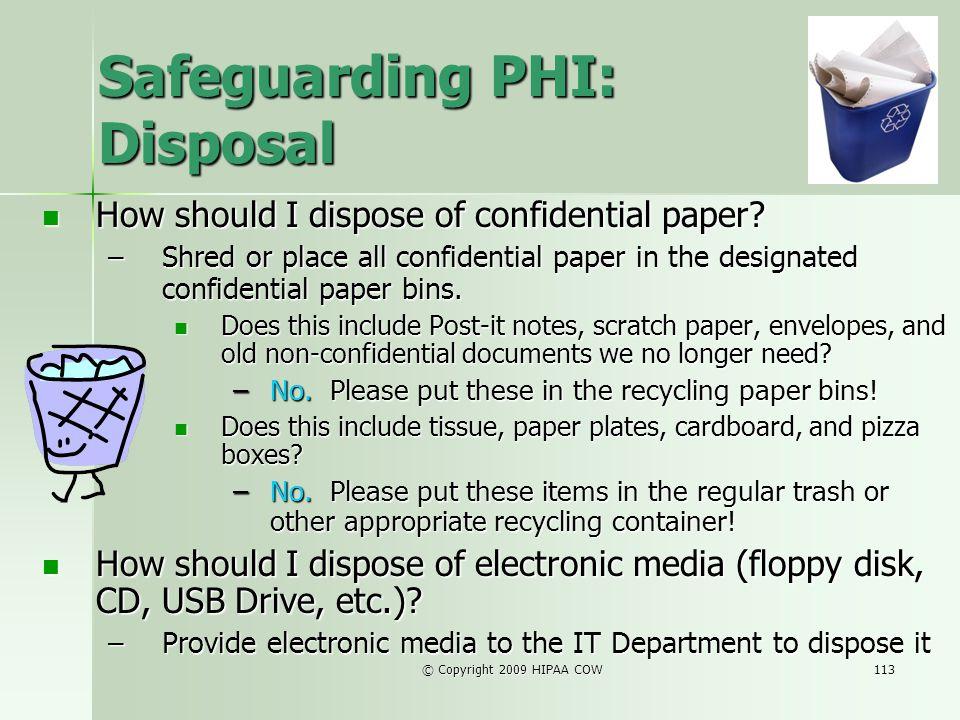Safeguarding PHI: Disposal