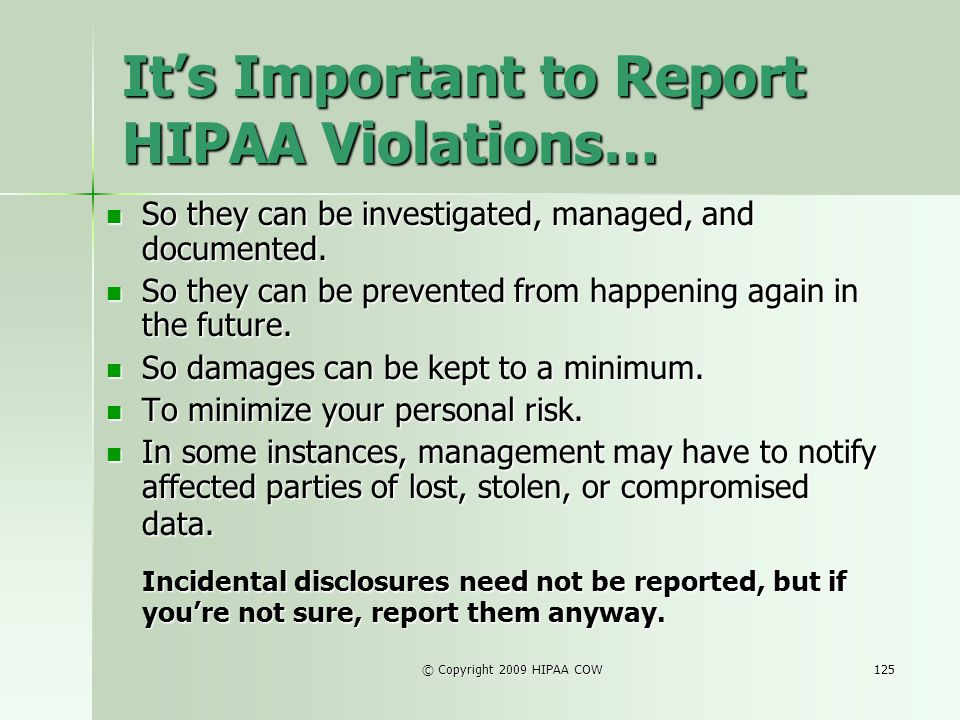 It's Important to Report HIPAA Violations…