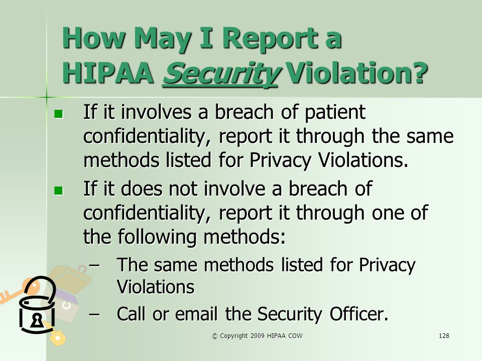How May I Report a HIPAA Security Violation