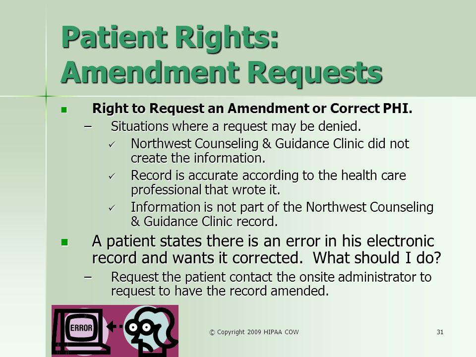 Patient Rights: Amendment Requests