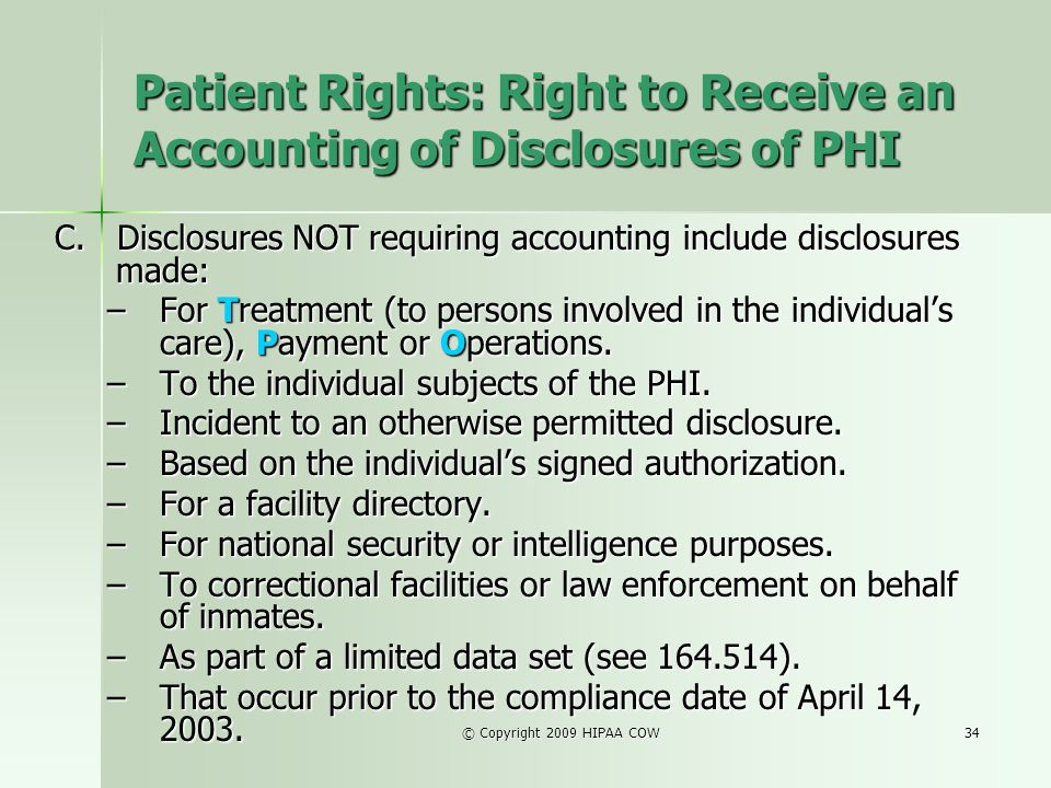 Patient Rights: Right to Receive an Accounting of Disclosures of PHI
