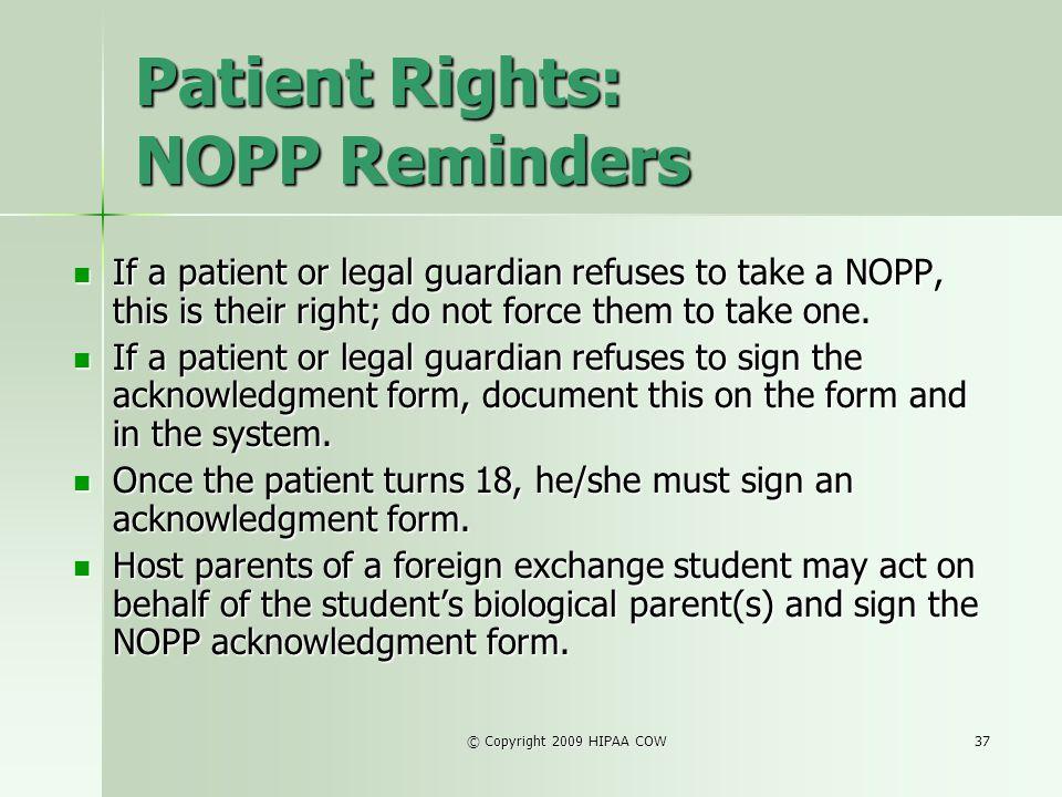 Patient Rights: NOPP Reminders