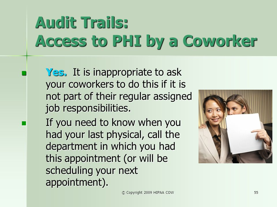 Audit Trails: Access to PHI by a Coworker