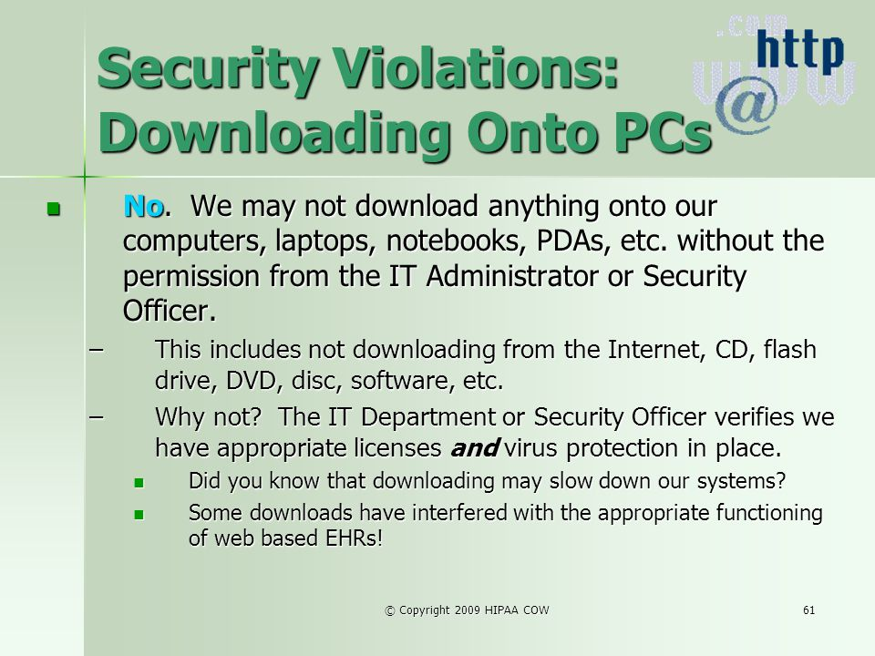 Security Violations: Downloading Onto PCs
