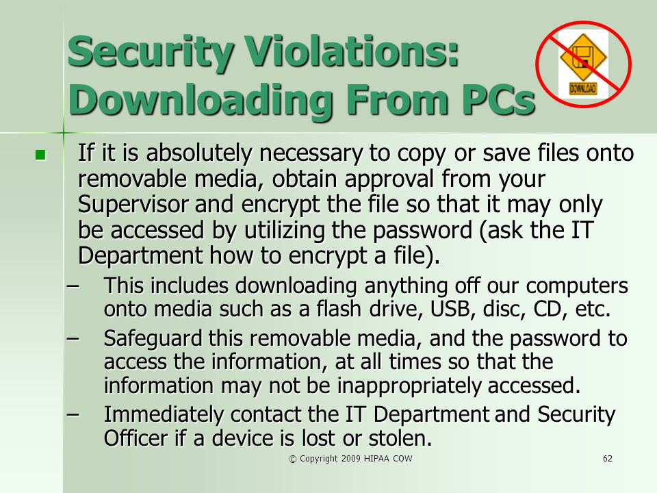 Security Violations: Downloading From PCs