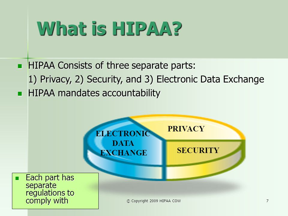 What is HIPAA HIPAA Consists of three separate parts: