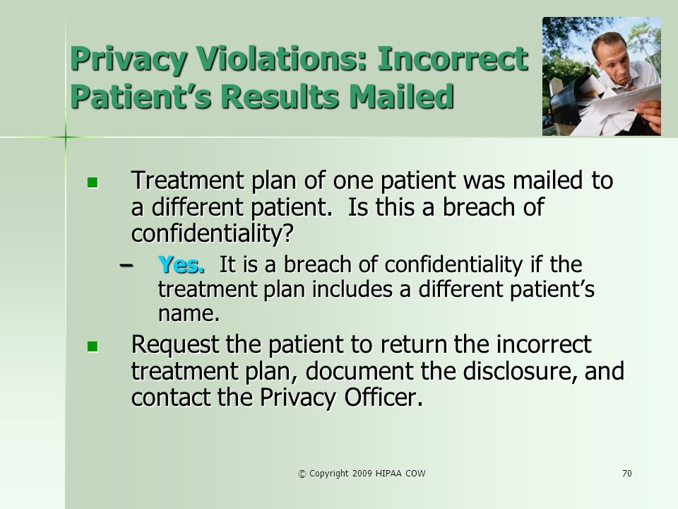 Privacy Violations: Incorrect Patient's Results Mailed
