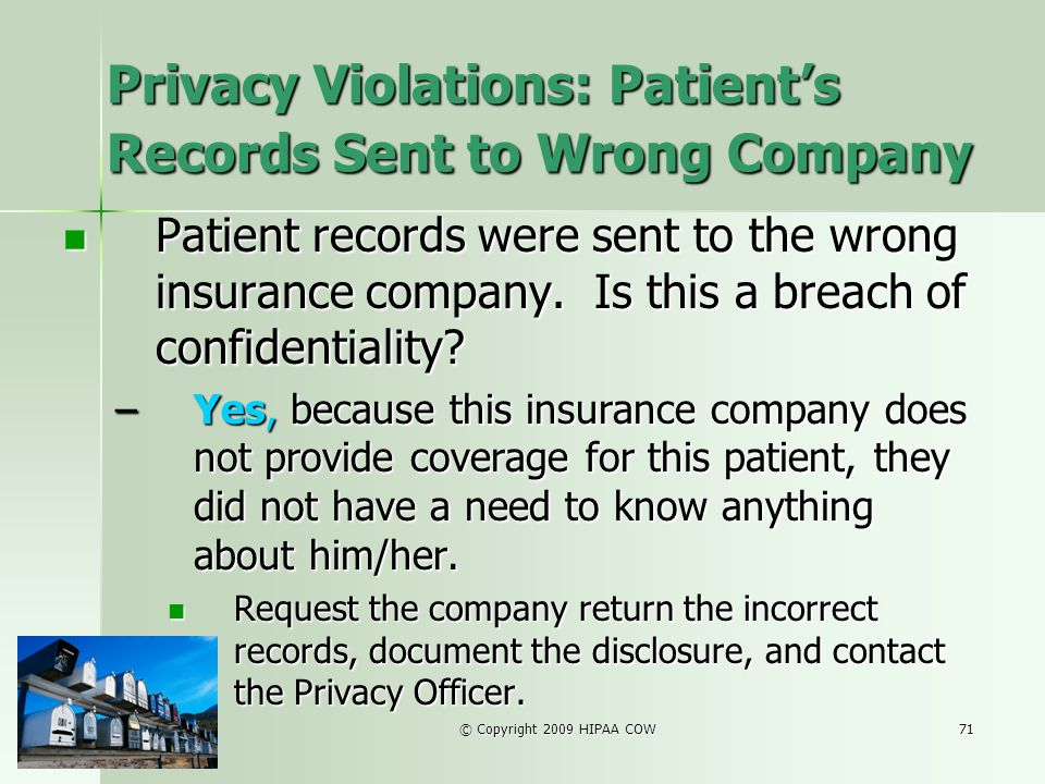 Privacy Violations: Patient's Records Sent to Wrong Company