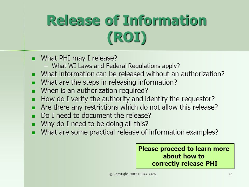 Release of Information (ROI)