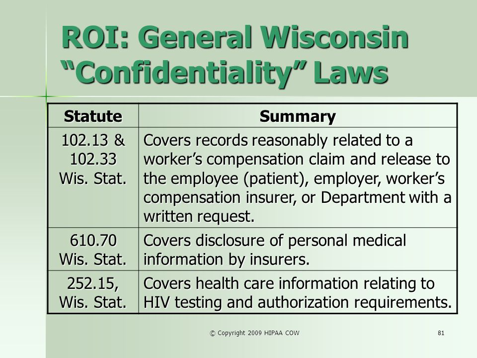 ROI: General Wisconsin Confidentiality Laws