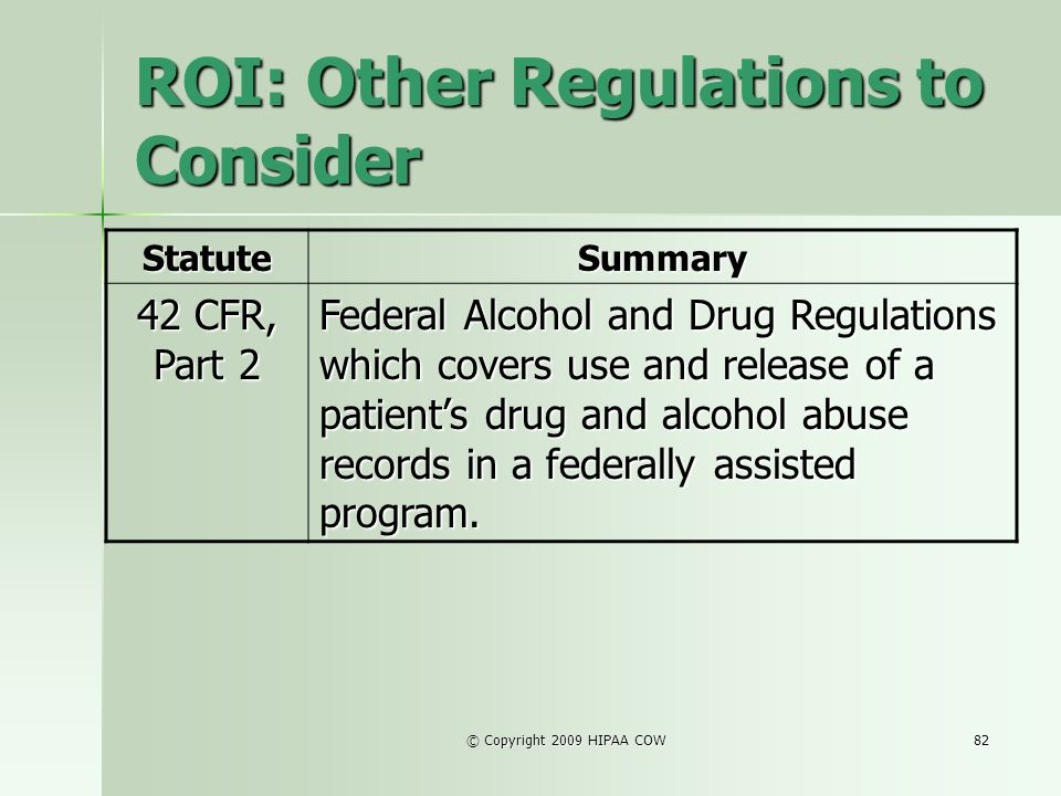 ROI: Other Regulations to Consider