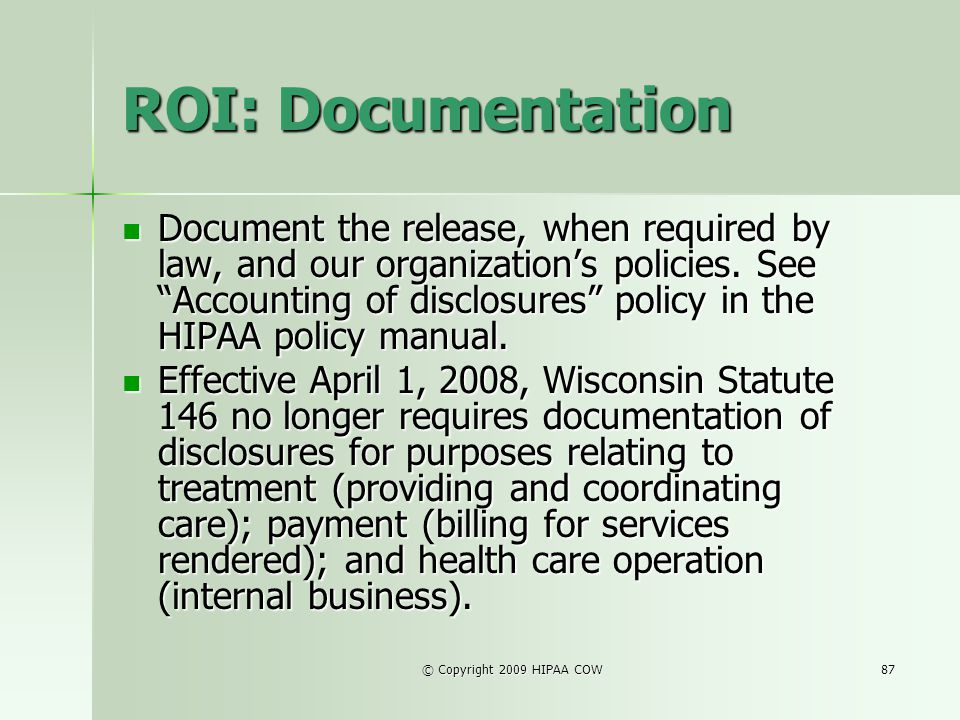 ROI: Documentation