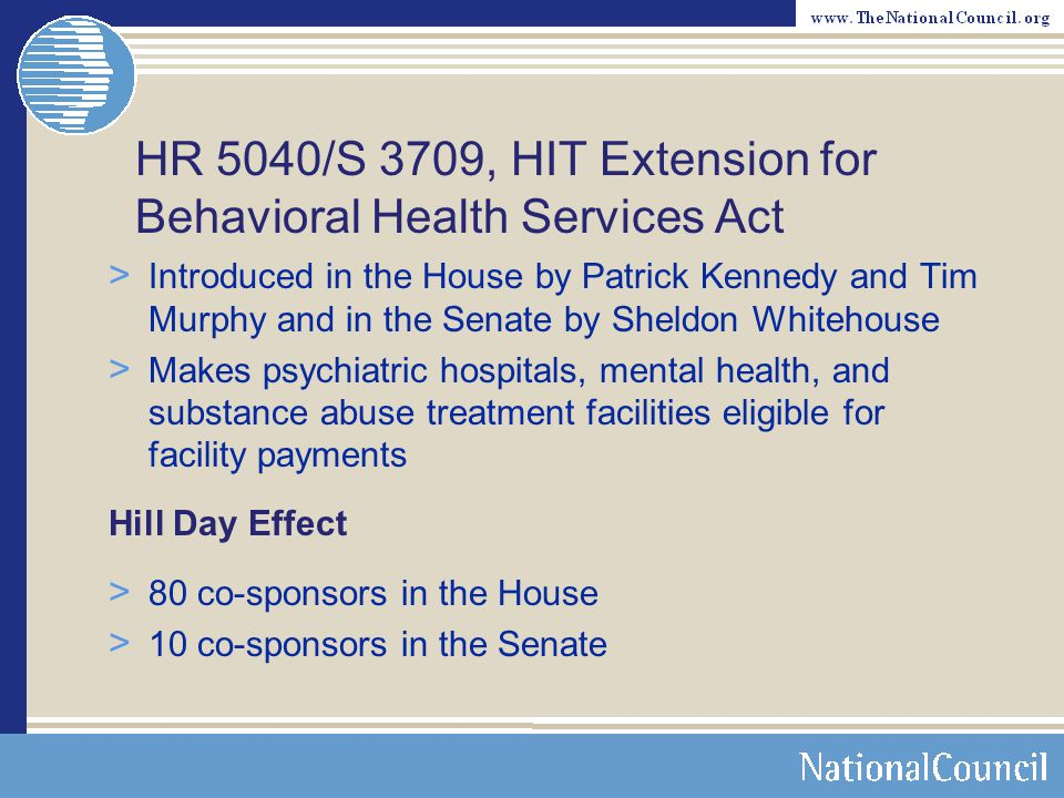 HR 5040/S 3709, HIT Extension for Behavioral Health Services Act