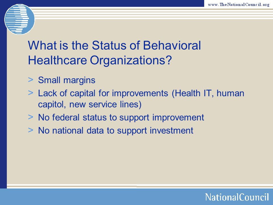 What is the Status of Behavioral Healthcare Organizations