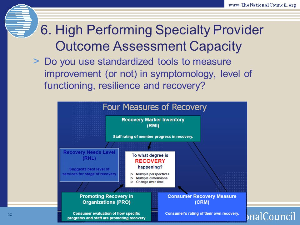 6. High Performing Specialty Provider Outcome Assessment Capacity