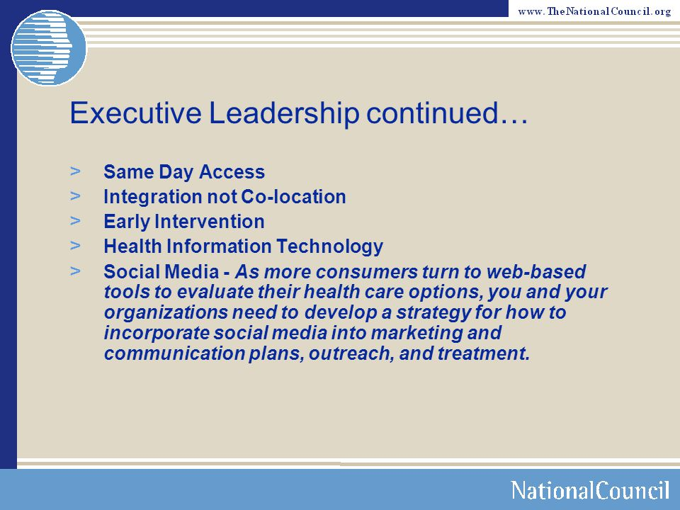 Executive Leadership continued…