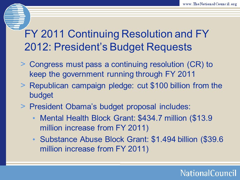 FY 2011 Continuing Resolution and FY 2012: President's Budget Requests