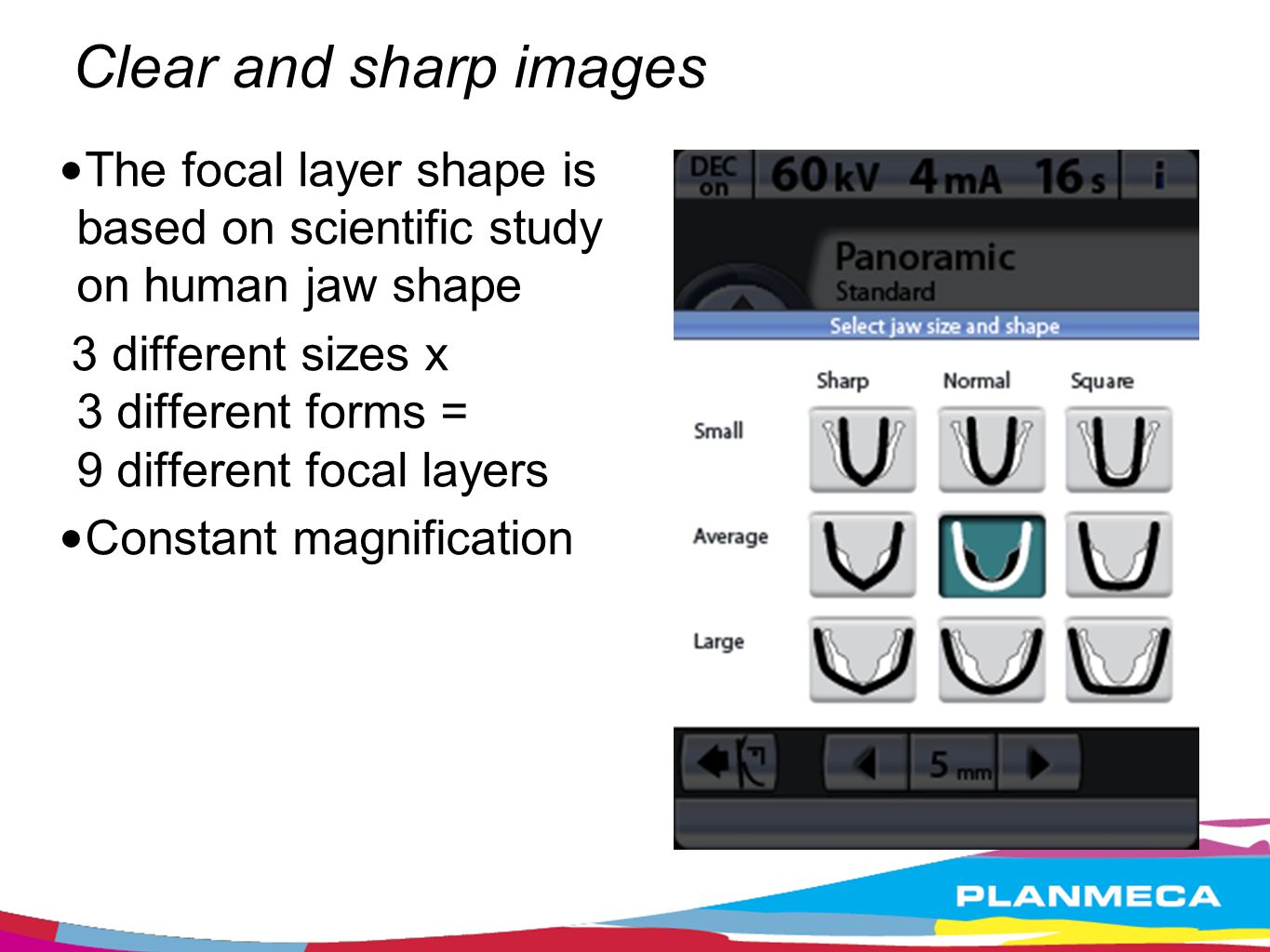 Clear and sharp images The focal layer shape is based on scientific study on human jaw shape.