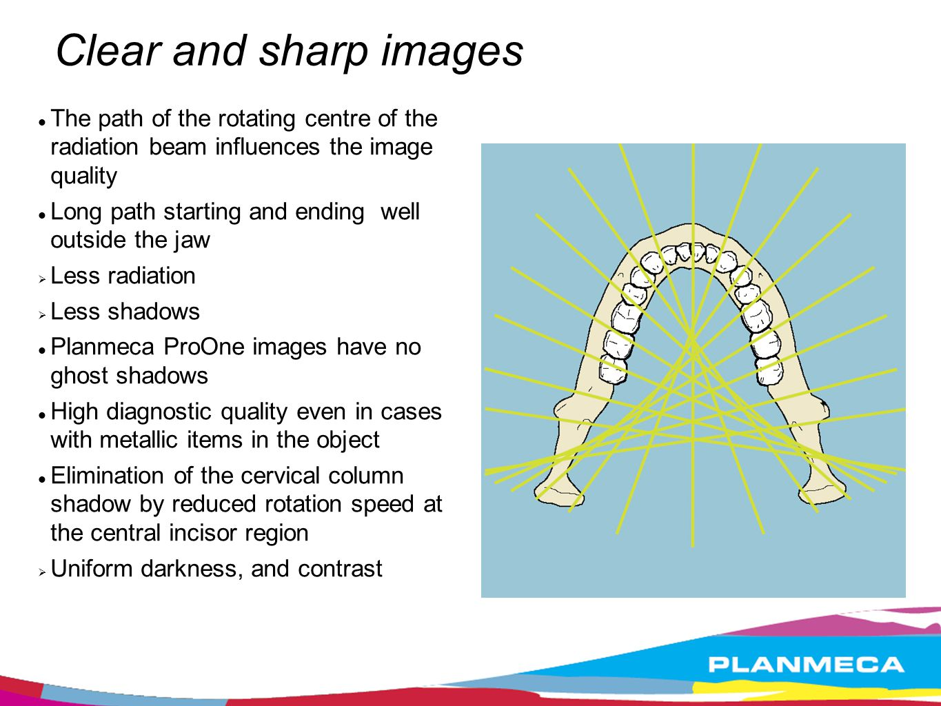 Clear and sharp images The path of the rotating centre of the radiation beam influences the image quality.
