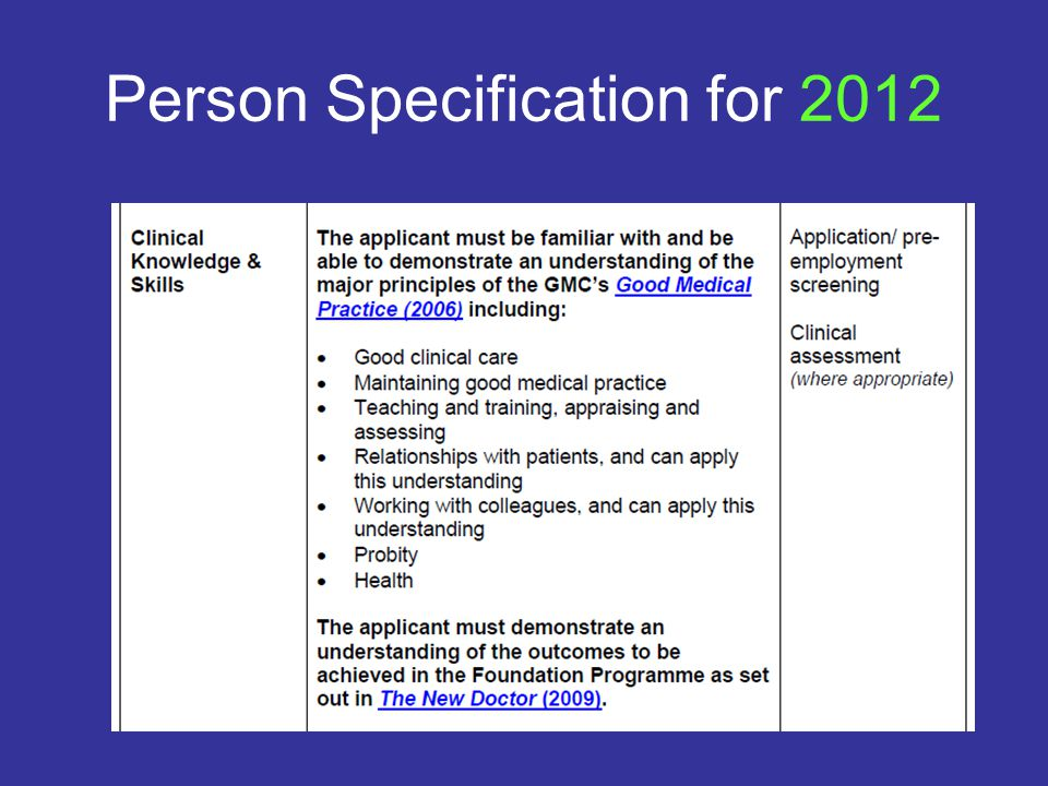 Person Specification for 2012