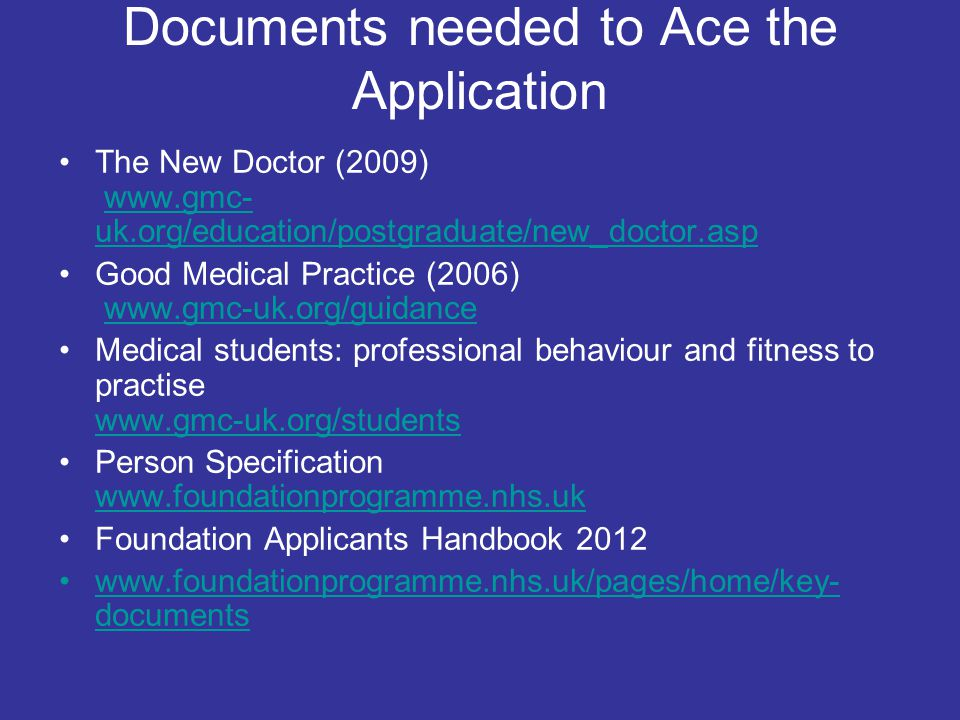 Documents needed to Ace the Application
