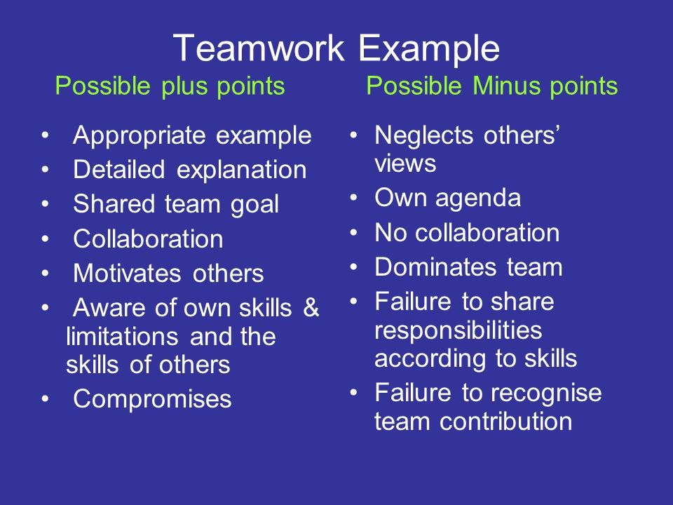 Teamwork Example Possible plus points Possible Minus points