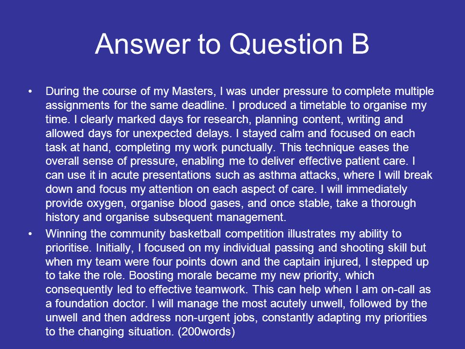 Answer to Question B