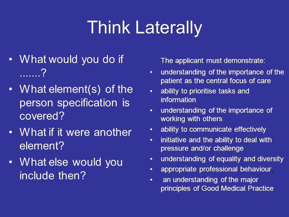 Think Laterally What would you do if .......