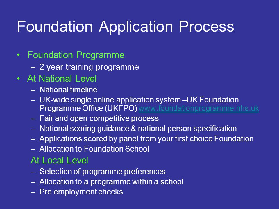 Foundation Application Process