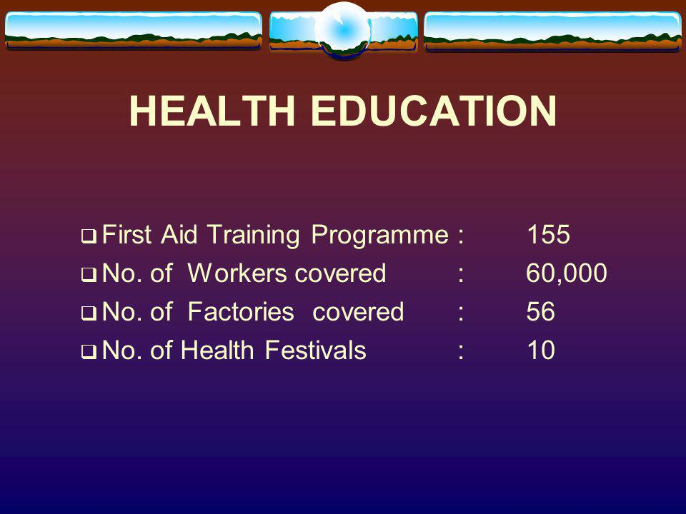 HEALTH EDUCATION First Aid Training Programme : 155